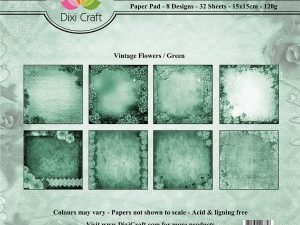 PP0033 Dixi Craft Papirspakning Vintage Flowers Green-0