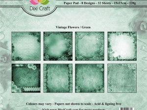PP0033 Dixi Craft Papirspakning Vintage Flowers Green-0