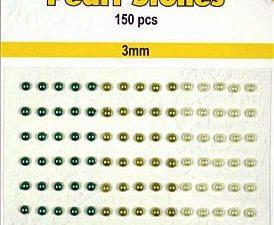 APS302 Nellie Snellen Halvperler selvklæbende 3mm 150 stk Grønne Nuancer-0