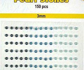 APS303 Nellie Snellen Halvperler selvklæbende 3mm 150 stk Blå Nuancer-0