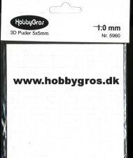 5960 3D Puder 5x5 mm, 1,0 mm tyk, hvide-0