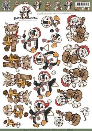 0410397 Yvonne Design 3D 1 ark spillende jule dyr CD10397-0