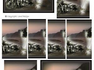 066710 Lene Design 3D 1 ark Pyramide Pige og motorcykel-0