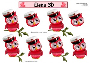 066750 Lene Design 3D 1 ark Studenterugle rød-0