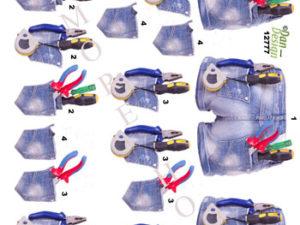 12777 Dan Design 3D 1 ark shorts med værktøj -0