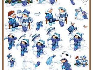 DHM072 Marianne Design 3D 1 ark vinter børn i sneen-0
