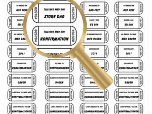 635 Castello papir 1 ark label med 14 forskellige tekster 01-0
