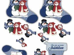 2279 Matori Design 3D 1 ark 4 små julesokker med snemand og hans kone-0