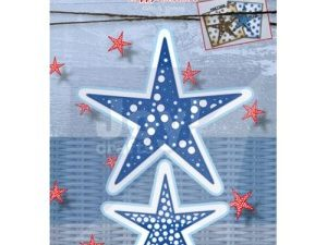 6002/2050 JOY Die Cut/emb Happy Christmas Stars -0