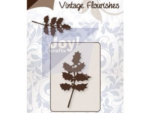6003/0060 JOY Die Cut Vintage Flourishes Holly Leaves -0