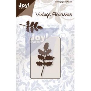 6003/0060 JOY Die Cut Vintage Flourishes Holly Leaves -0