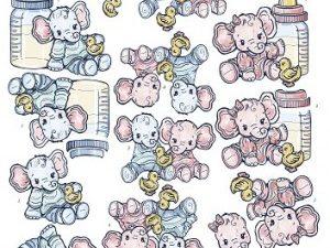 SB10029 Yvonne Design 3D 1 ark udstanset Baby elefanter pige og dreng-0