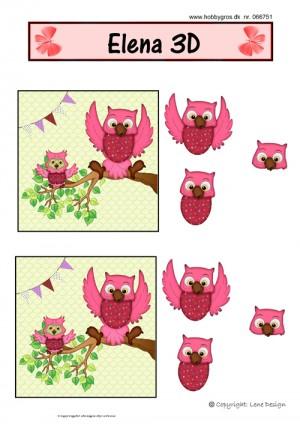 066751 Lene Design 3D 1 ark rød ugle-0