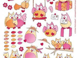 AK0057 Marianne Design 3D 1 ark Elines summer owls 1-0