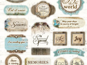 EASYWM493 Studiolight Udstanset 1ark Labels Winter Memories -0