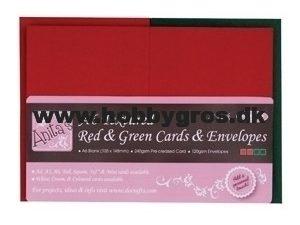 PMA151904 Docraft kort og kuvert 50 sæt A6 Rød og Grøn -0