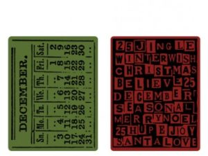 656941 Sizzix Tim Holtz Alterations Texture Fades Embossing Folders December Calendar Holiday Words-0