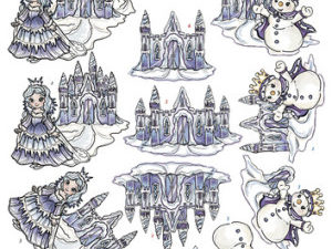 CD10588 Yvonne Design 3D 1 ark Magical Winter Vinterlandskab-0