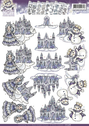 CD10588 Yvonne Design 3D 1 ark Magical Winter Vinterlandskab-0