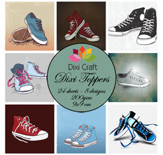ET0261 Dixi Craft Toppers 9X9CM 24 ark Sneakers-0