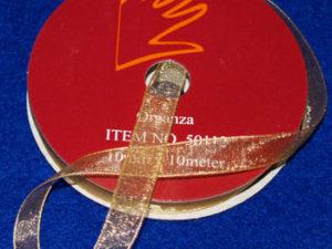 50112 Organzabånd 10mmx10m guld -0