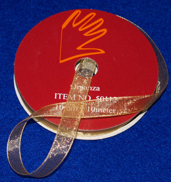 50312 Organzabånd 3mmx10m guld -0