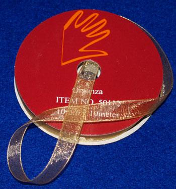 50612 Organzabånd 6mmx10m guld -0