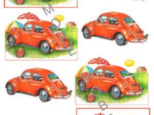120484 HM Design 3D 1 ark Rød folkevogn-0