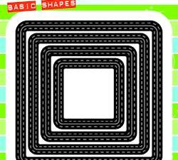 CR1359 Marianne Design Die Cut/emb Craftables Basic Shapes Stitched Squares-0