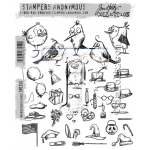 CMS250 Stampers Anonymous Tim Holtz Mini Bird Crazy & Things Stamps-0