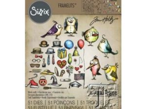 660949 Sizzix Die Tim Holtz Alterations Framelits Mini Bird Crazy & Things-0