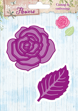 STENCILBF05 Studiolight Die Cut/emb Beautifull Flower Rose med blad-0