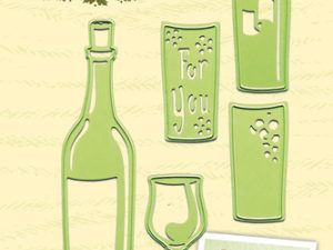 45.2304 Leane Creatief Die Cut/emb Wine Bottle & Glass-0
