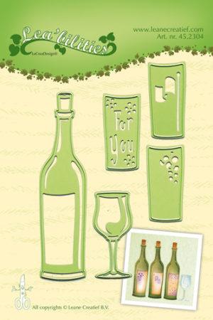 45.2304 Leane Creatief Die Cut/emb Wine Bottle & Glass-0