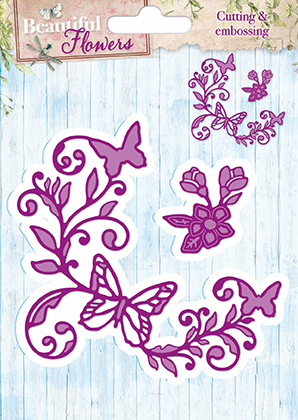 STENCILBF02 StudioLight Die Cut/emb Beautiful Flowers Hjørne med sommerfugle-0