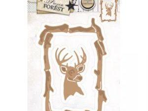 STENCILFF18 StudioLight Die Cut/emb Frozen Forest Ramme med Rensdyr hoved-0