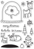 CL5180 Memory Box Clear Stamp Set Snowglobe Wishes -0