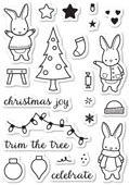 CL5191 Memory Box Clear Stamp Set Holiday Bunnies -0