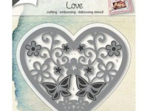 6002/0664 JOY Die Cut/Emb/Deb Heart with flowers And butterfly-0