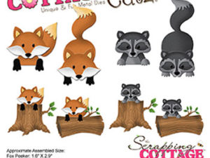 CC-226 Cottage Cutz Die Forest Peekers Fox & Raccoon-0