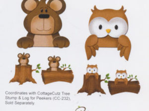 CC-223 Cottage Cutz Die Forest Peekers Bear & Owl-0