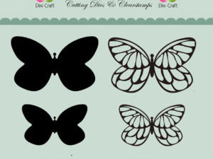 MD0091 Dixi Craft Die og Clearstamp Butterflies -0