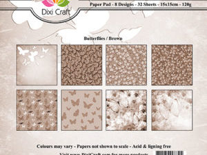 PP0081 Dixi Craft Papirspakning Butterflies Brown -0