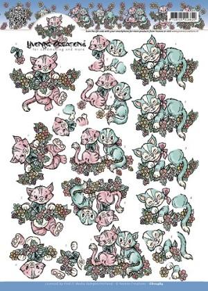 CD10484 Yvonne Creations 3D 1 ark Katte-0