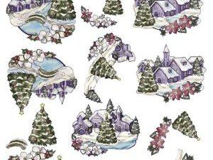 SB10044 Yvonne Creations Udstanset 3D 1 ark Colourful Christmas Landskaber-0