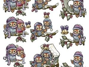 SB10045 Yvonne Creations Udstanset 3D 1 ark Colourful Christmas Ugler-0
