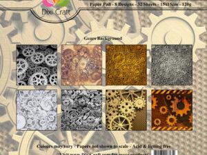 PP0082 Dixi Craft Papirspakning Gears Background Flerfarvet-0
