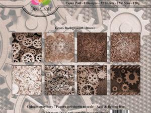 PP0083 Dixi Craft Papirspakning Gears Background Brown-0