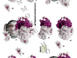13169 Dan Design 3D 1 ark Blomster i Vase Lilla og Hvid-0