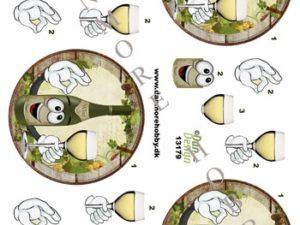 13179 Dan Design 3D 1 ark hvidvin i flaske og glas -0